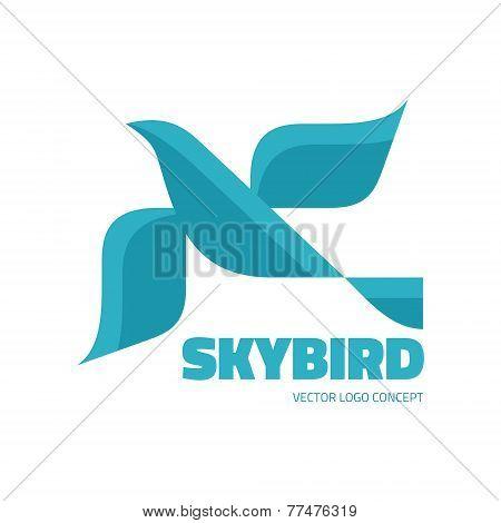 Sky bird - vector logo concept illustration. Bird logo in classic graphic style.