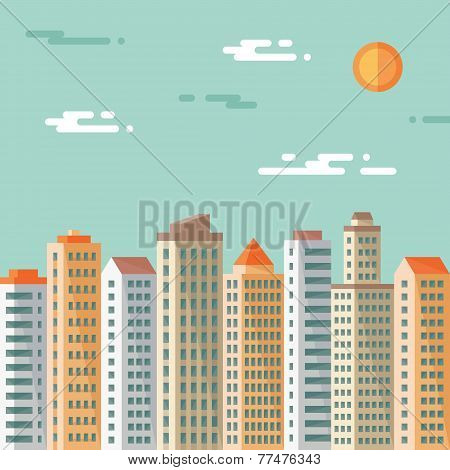 Cityscape - abstract buildings - vector concept illustration in flat design style.