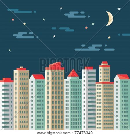 Night cityscape - abstract buildings - vector concept illustration in flat design style. Real estate