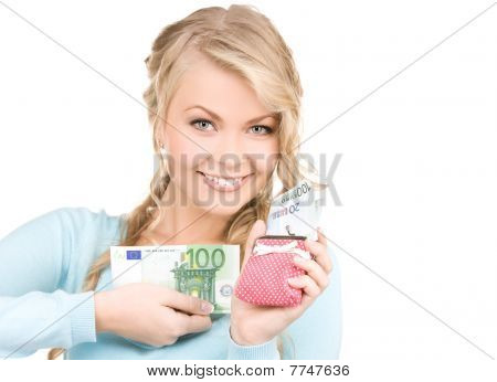 Lovely Woman With Purse And Money