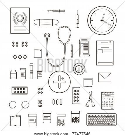 Outlined One Color Medical Symbols and Icons Collection