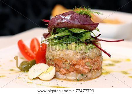 Tasty salmon tartar