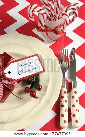 Bright Colorful Modern Christmas Children Family Party Table Place Settings In Red And White Theme O