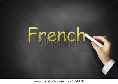 Hand Writing French On Chalkboard