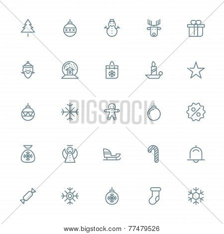 Thin line Christmas icons set for web and mobile apps. Gray icons on white background. Christmas tre