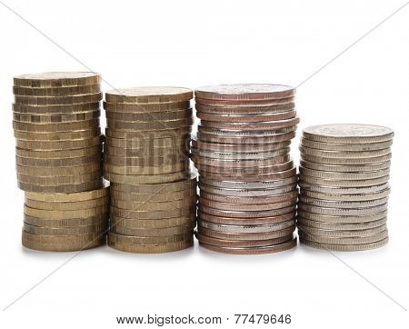 Stack of gold coins on white background