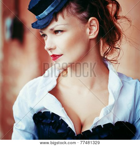 Vintage Portrait Of Beautiful Girl
