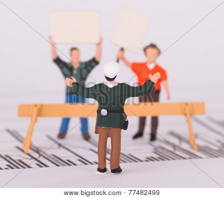 Tiny Person Demonstrating On A Graph, Selective Focus