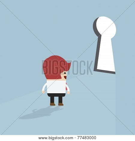 Businessman Standing In Front Of Keyhole