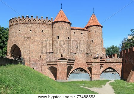 Barbican city wall of Warsaw in Poland