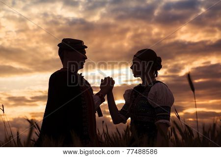Couple in love at sunset