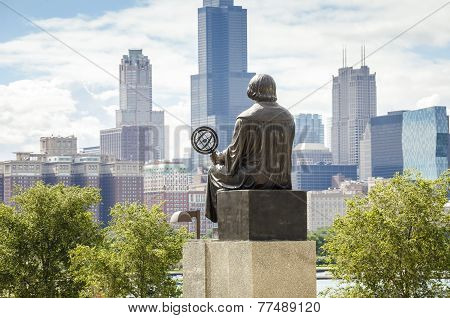 Mikolaj Kopernik Admiring Panorama Of Chicago.