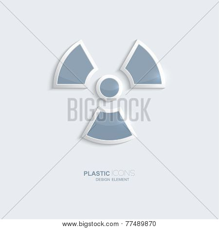 Plastic icon radiation symbol.