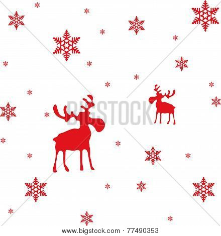 Abstract Vector Red Moose and Snowflakes