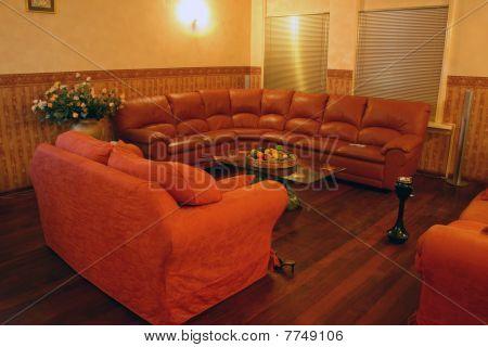 red sofa room