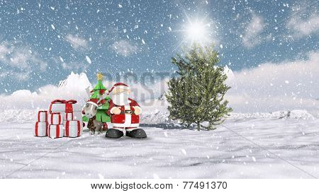 Christmas winter scene with Santa and his reindeer