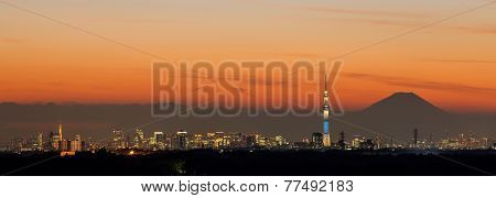 View of Tokyo city in evening with Tokyo sky tree , Tokyo Tower and Fuji mountain