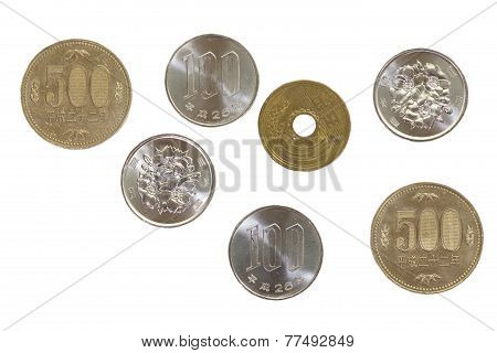 Japanese yen coins isolated on white background
