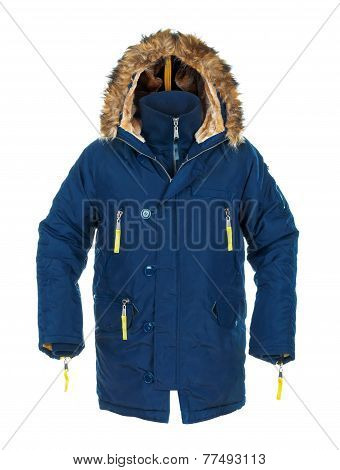 Blue Sports Jacket For Men With Fur On Isolated White