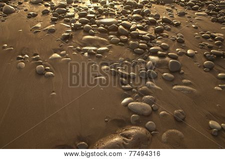 Sand And Stones In The Beach In Warm Tone