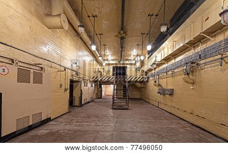 Interior Of Main Hall In Soviet Nuclear Weapon Bunker.