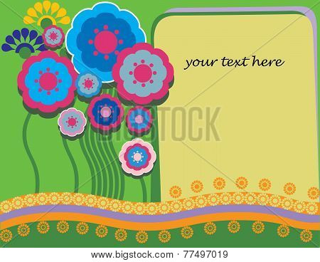 decorative card with a letter and flowers