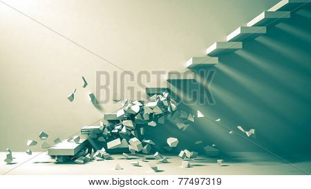 Ruined staircase as background 3d rendering