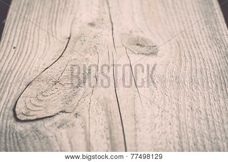 Wooden Plank With Splinters And Cracks. Vintage.