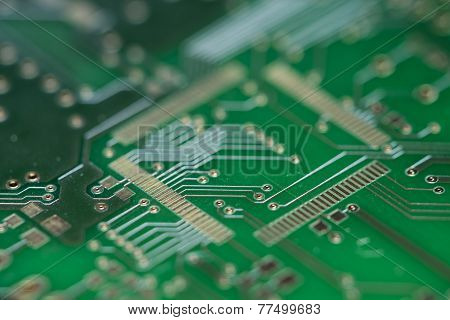 Green Pcb (close-up Shot)
