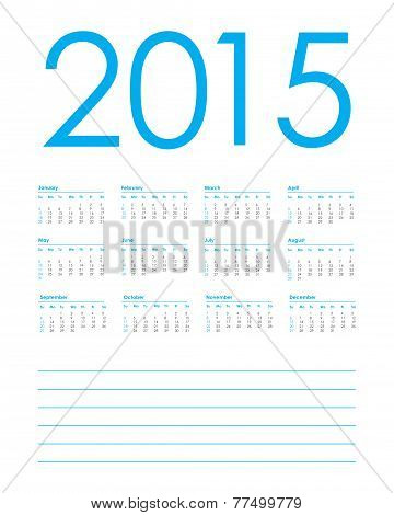 Calendar Planner For 2015, Week Starts With Sunday, Vector Illustration