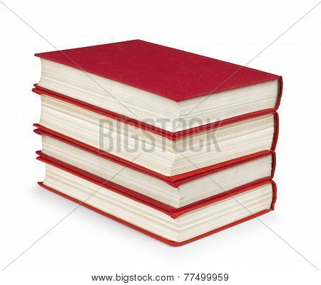 Stack Of Vintage Red Book On White Isolation