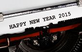 picture of typewriter  - Typewriter Types HAPPY NEW YEAR 2015 Closeup black ink - JPG