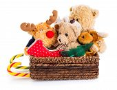 stock photo of mating bears  - Toys in a christmas sledge isolated on a white background - JPG