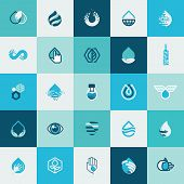 stock photo of food  - Set of flat design icons for water and nature for websites - JPG