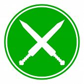image of crossed swords  - Crossed gladius swords button on white background - JPG