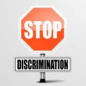 stock photo of racial discrimination  - detailed illustration of a red stop discrimination sign - JPG