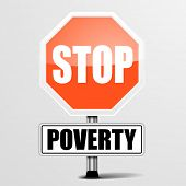 pic of poverty  - detailed illustration of a red stop Poverty sign - JPG