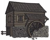 image of water-mill  - Vector illustration of hand drawn old wooden water mill - JPG