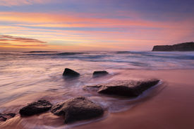 pic of morning sunrise  - Intense summer sunrise colours at Bungan Beach and mesmerising ocean flows - JPG