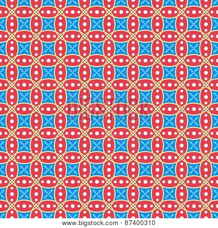 Red and blue seamless geometric vector wallpaper pattern.