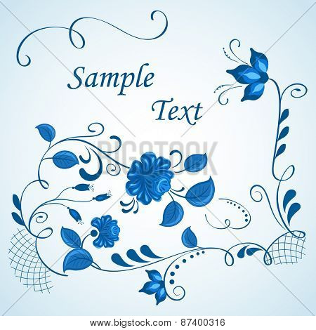 Blue and white gzhel style vector background with copy space.