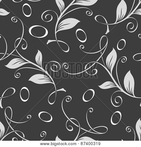 Seamless curly leaves monochrome vector pattern.