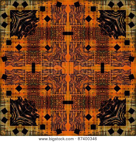 art deco ornamental vintage graphic pattern, S.48, background in orange, black and old gold colors