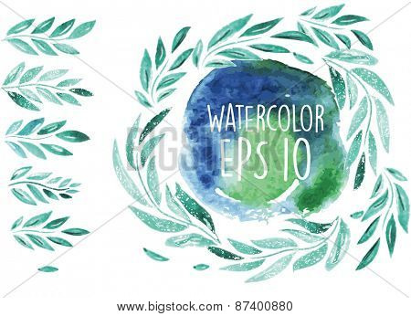 Vector set brush with green leaf