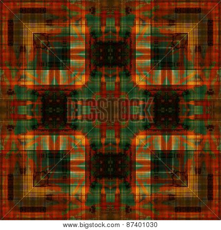 art deco ornamental vintage pattern, S.17, background in brown, old gold, red orange, green and black colors