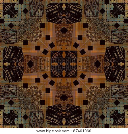 art deco ornamental vintage pattern, S.47, monochrome background in brown, orange and black colors