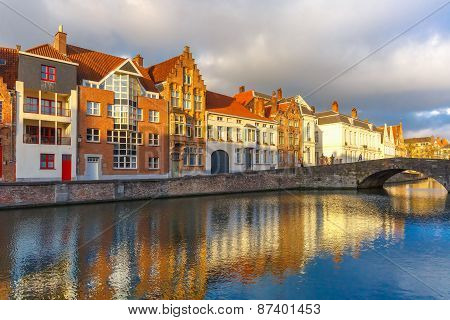 Bruges canal Spiegelrei with beautiful houses, Belgium