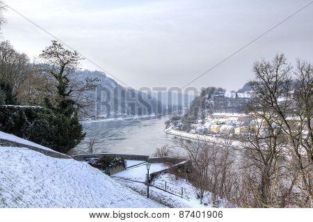 Cityscape of Linz from Linzer Schloss. Linz, Austria