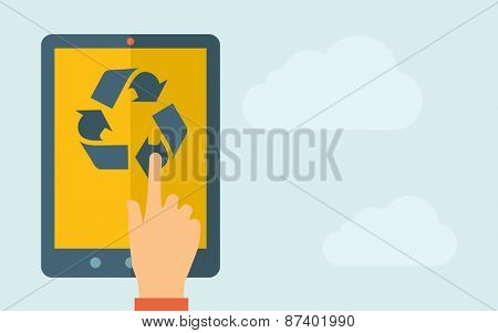 A hand is touching the screen of a tablet with recycle icon. A contemporary style with pastel palette, light blue cloudy sky background. Vector flat design illustration. Horizontal layout with text