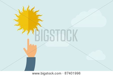 A hand pointing to sun icon. A contemporary style with pastel palette, light blue cloudy sky background. Vector flat design illustration. Horizontal layout with text space on right part.